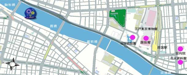 隅田川花火大会第二会場の打ち上げ場所の地図