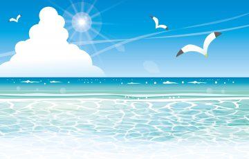 夏の海とかもめと入道雲