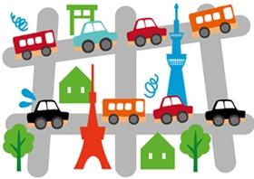 交通規制で渋滞する車