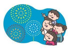 花火大会を見る家族