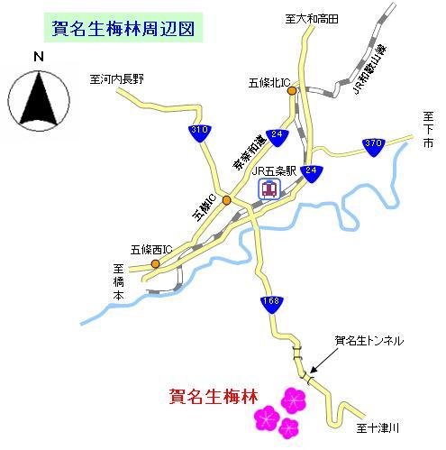 賀名生梅林へのアクセス地図