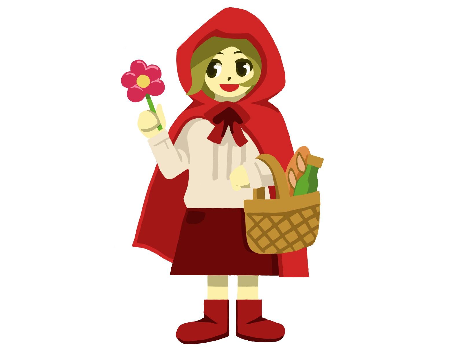 ハロウィンで赤ずきんちゃんの手作り衣装を着た女の子