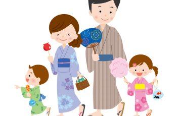 夏祭りに出かける家族