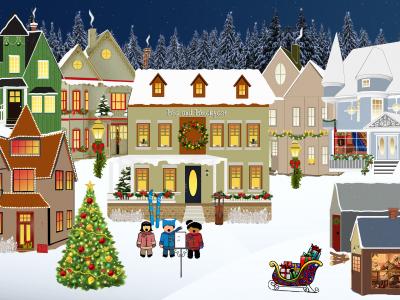 クリスマスツリーと建物と子どもたち